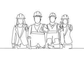 um desenho de linha de grupos de construtores de construção jovem feliz masculino e feminino usando capacete dando polegares para cima gesto. grande conceito de trabalho em equipe. moderna linha contínua desenhar design gráfico ilustração vetorial vetor