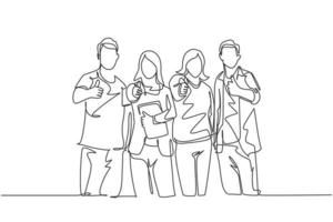 um desenho de linha de grupos de estudantes universitários felizes fazendo gesto de polegar para cima depois de estudar juntos na biblioteca da universidade. aprender e estudar no conceito de vida no campus. vetor de desenho de desenho de linha contínua