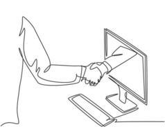 desenho de linha contínua de homens de negócios apertando a mão para lidar com um projeto. mão sair da tela do monitor do computador. conceito de transação digital online. ilustração do gráfico vetorial desenho de uma linha vetor