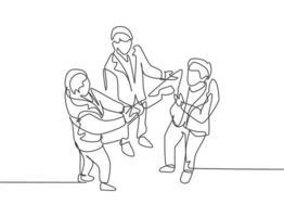 desenho de linha contínua de homem de negócios, aperto de mão a seu colega para lidar com um projeto. reunião de trabalho em equipe de negócios no conceito de escritório. design de desenho de linha única, ilustração gráfica do vetor