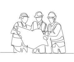 um desenho de linha do jovem construtor e arquiteto, vestindo colete de construção e capacete, procurando construir projeto na impressão azul juntos. grande conceito de trabalho em equipe. vetor de desenho gráfico de linha contínua