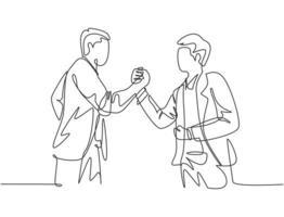desenho de linha contínua do aperto de mão do homem de negócios jovem seu colega para lidar com um projeto. conceito de reunião de negócios. design de desenho de linha única, ilustração gráfica vetorial vetor