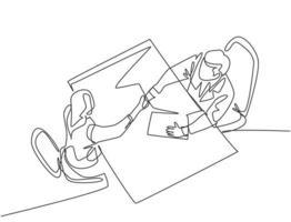 desenho de linha contínua do jovem gerente aperto de mão de sua trabalhadora para parabenizá-la por lidar com um projeto. conceito de acordo comercial. ilustração gráfica de desenho de linha única vetor