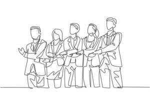 desenho de linha contínua de empresário e mulher de negócios em grupo, segurando a mão juntos. conceito de trabalho em equipe de negócios. design de desenho de uma linha, ilustração gráfica do vetor