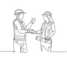 um desenho de linha de mulher jovem arquiteto e construtor capataz usando colete de construção e capacete, apertando as mãos juntos. grande conceito de trabalho em equipe. desenho de linha contínua, ilustração vetorial vetor