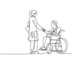 um desenho de linha de uma jovem médica visitando e apertando a mão de um paciente com cadeira de rodas no hospital. design de desenho de linha contínua, ilustração vetorial vetor