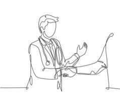 desenho de linha contínua do jovem médico apertando a mão do paciente no hospital. conceito de exame médico de saúde. ilustração vetorial desenho de uma linha vetor