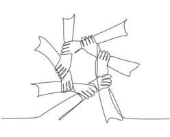 um desenho de linha de gesto de mão fazendo rede de anel de círculo. desenho de linha contínua de estilo de design de trabalho em equipe. ilustração vetorial de conceito de negócio vetor