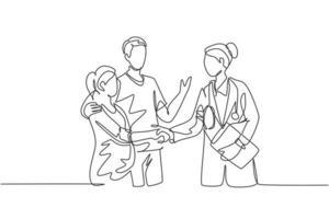 um desenho de linha do obstetra e médico ginecologista, aperto de mão e parabenizar um jovem casal feliz pela gravidez. conceito de exame médico. ilustração vetorial desenho de uma linha vetor