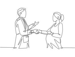desenho de linha contínua de um aperto de mão de médico obstetra e ginecologista e parabenizar uma jovem mãe grávida feliz por sua gravidez. ilustração vetorial desenho de uma linha vetor