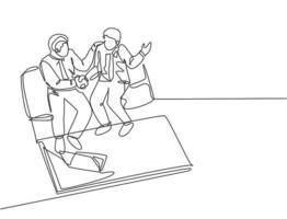 desenho de linha única de empresários cumprimentando seu parceiro de negócios após um grande projeto de negócio. ótimo trabalho em equipe. conceito de negócio com ilustração gráfica de estilo de desenho de linha contínua vetor