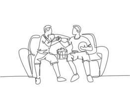 desenho de linha contínua de dois jovens do clube de fãs de futebol apertando a mão e sentados em um sofá para assistir a uma partida de futebol. ilustração gráfica de vetor de desenho de linha única dinâmica