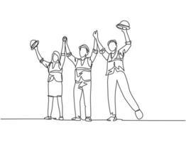 um desenho de linha da jovem arquiteta e construtora vestindo colete de construção ergueu os punhos no ar para celebrar um contrato de projeto. grande conceito de trabalho em equipe. ilustração de desenho de linha contínua vetor