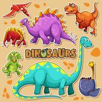 Diferentes tipos de dinossauros em cartaz