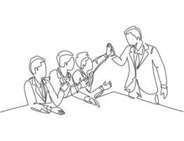 um grupo de empresários de desenho de linha comemorando seu objetivo sucessivo na reunião de negócios com um gesto de mais cinco. conceito de negócio de linha contínua desenho gráfico ilustração vetorial vetor