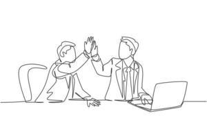 """um desenho de linha de empresários celebrando sua meta sucessiva na reunião de negócios com um gesto de """"mais cinco"""". conceito de negócio de negócios linha contínua desenhar design gráfico ilustração vetorial vetor"""