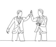 um desenho de linha de dois jovens empresários felizes celebrando seu objetivo sucessivo na reunião de negócios com um gesto de mais cinco. conceito de negócio de negócios linha contínua desenho ilustração vetorial vetor
