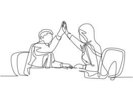 um desenho de linha de jovem empresário feliz e empresárias comemorando seu objetivo sucessivo na reunião de negócios. conceito de negócio de negócios linha contínua desenho ilustração vetorial vetor