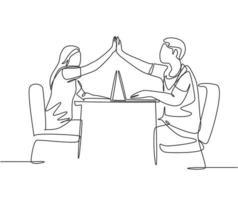 um desenho de linha de dois jovem casal feliz, homem e mulher, trabalham no café e dando mais cinco gesto para comemorar o sucesso. conceito de negócio de negócios linha contínua desenho ilustração vetorial vetor