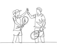um desenho de linha de diversão jovem casal masculino e feminino jogando tênis na quadra de grama juntos e dando mais cinco gesto. conceito de relacionamento linha contínua desenhar ilustração vetorial de design gráfico vetor