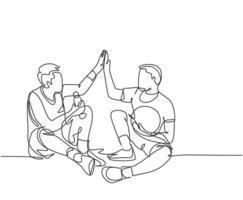 um desenho de linha de dois jovens felizes descansam depois de jogar basquete na quadra e fazer gesto de high five. Esporte jogo conceito linha contínua desenhar ilustração vetorial de design gráfico vetor