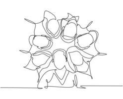 um desenho de linha de grupo de empresário e empresária criando um círculo e uma forma redonda como símbolo do trabalho em equipe. conceito de construção de equipes de negócios linha contínua desenhar design gráfico ilustração vetorial vetor