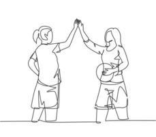 um desenho de linha de jovens mulheres felizes dando mais cinco gestos antes de jogar basquete na quadra externa. Esporte jogo conceito linha contínua desenhar ilustração vetorial de design gráfico vetor