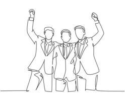 um desenho de linha de três jovens empresários felizes celebrando sua meta sucessiva na reunião de negócios com um gesto de mais cinco. conceito de negócio de negócios linha contínua desenho ilustração de design vetor