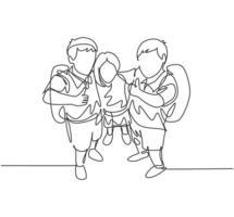 um grupo de desenho de linha de feliz estudante do ensino fundamental masculino e feminino carregando a bolsa escolar e dando o polegar para cima gesto. conceito de educação linha contínua desenhar design ilustração vetorial gráfico vetor