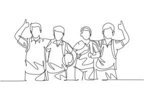 um grupo de desenho de linha de jovens meninos e meninas felizes de um estudante do ensino fundamental carregando sacolas e dar os polegares para cima gesto. conceito de educação linha contínua desenhar design gráfico ilustração vetorial vetor