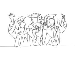 um grupo de desenho de linha de jovem estudante universitário feliz pós-graduação usando vestido e segurando papel certificado do diploma. conceito de educação linha contínua desenho ilustração vetorial vetor