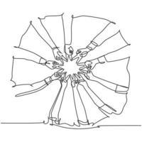 um desenho de linha de jovens felizes junta as mãos para mostrar o trabalho em equipe e a unidade e criar a forma de círculo. conceito de construção de equipes linha contínua desenhar design gráfico ilustração vetorial vetor