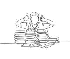 um desenho de linha de jovem estudante feliz dando polegares para cima gesto em uma pilha de livros e gesto de polegares para cima. conceito de educação linha contínua desenhar ilustração vetorial de design gráfico vetor