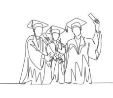 um grupo de desenho de linha de jovem estudante universitária feliz pós-graduação usando vestido e dando polegares para cima gesto. conceito de educação linha contínua desenho ilustração vetorial vetor