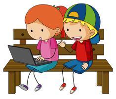 Dois, crianças, trabalhando, laptop, computador vetor