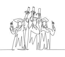 um grupo de desenho de linha de jovem estudante universitário feliz pós-graduação usando vestido e levantando o papel do certificado do diploma no ar. conceito de educação linha contínua desenhar vetor de design