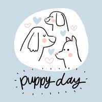 Cães bonitos com corações e letras vetor