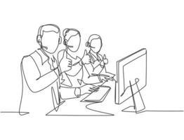 grupo de desenho de linha única de jovens trabalhadores de centro de atendimento masculino e feminino, sentado na frente do computador e dando os polegares para cima gesto. atendimento ao cliente conceito de negócio desenho de linha contínua vetor