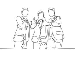 desenho de linha única de jovens empresários vestindo terno, levantando-se juntos após a reunião e dando os polegares para cima gesto. conceito de trabalho em equipe de proprietário empresarial. ilustração em vetor desenho desenho em linha contínua