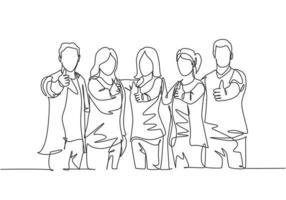 grupo de desenho de linha única de jovens empresários e mulheres de negócios felizes, levantando-se e dando os polegares para cima gesto juntos. conceito de reunião de negócios. ilustração em vetor desenho desenho em linha contínua