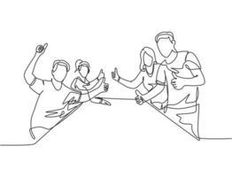 grupo de desenho de linha única de jovens empresários e empresárias felizes dando polegares para cima gesto juntos. conceito de reunião de negócios. ilustração em vetor desenho gráfico em linha contínua