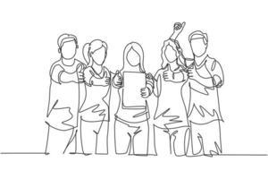 grupo de desenho de linha única de jovem empresário feliz mostra o certificado de prêmio e fazendo gesto de polegar para cima juntos. conceito de realização de negócios. ilustração em vetor desenho desenho em linha contínua