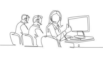 grupo de desenho de linha única de jovens trabalhadores de centro de atendimento masculino e feminino, sentado na frente do computador e dando os polegares para cima gesto. conceito de negócio de atendimento ao cliente. vetor de desenho de desenho de linha contínua