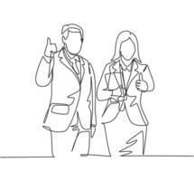 desenho de linha única do jovem casal feliz empresário e empresária dando polegares para cima gesto. conceito de trabalho em equipe de negócios. ilustração em vetor desenho desenho em linha contínua
