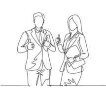 grupo de desenho de linha única do jovem casal feliz empresário e empresária levantando-se juntos dando polegares para cima gesto. conceito de trabalho em equipe de negócios. ilustração em vetor desenho desenho em linha contínua