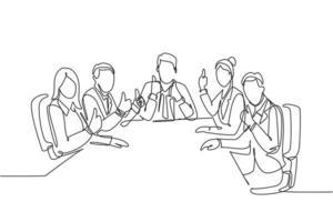 único desenho de linha grupo de jovens empresários felizes e mulheres de negócios situados na mesma mesa juntos dando polegares para cima gesto. conceito de reunião de negócios. ilustração em vetor desenho desenho em linha contínua