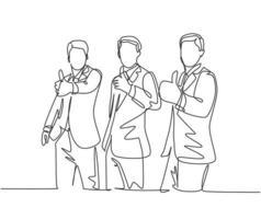 desenho de linha única de jovens empresários felizes vestindo terno dando polegares para cima gesto. proprietário da empresa, lidando com um conceito de trabalho em equipe. moderna linha contínua desenhar design gráfico ilustração vetorial vetor