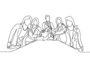 grupo de desenho de linha única de jovens empresários e empresária felizes, levantando-se juntos e dando os polegares para cima gesto. conceito de reunião de negócios. ilustração em vetor desenho desenho em linha contínua