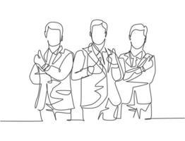 grupo de desenho de linha única de jovens empresários felizes juntos e dando polegares para cima gesto. conceito de trabalho em equipe de proprietário empresarial. ilustração em vetor desenho desenho em linha contínua