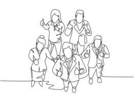 um desenho de linha de grupo de empresários e empresária dando polegares para cima gesto da vista superior. reunião de negócios e conceito de trabalho em equipe. ilustração em vetor desenho desenho em linha contínua